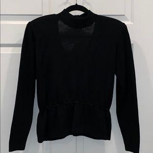 Women/'s Vintage 1980/'s St John Marie Gray Naval Short Sleeve Blouse Top Sweater Sz-6